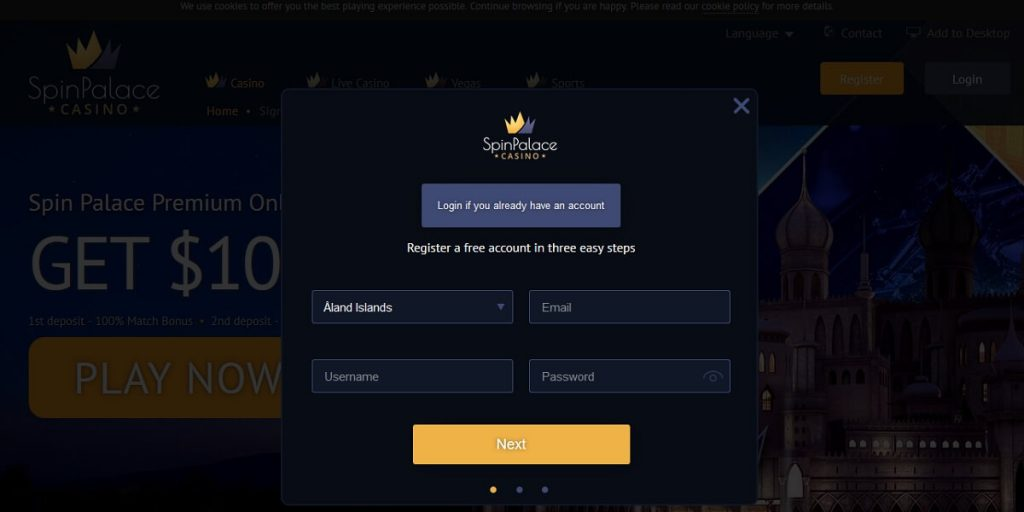 Register Spin Palace Casino